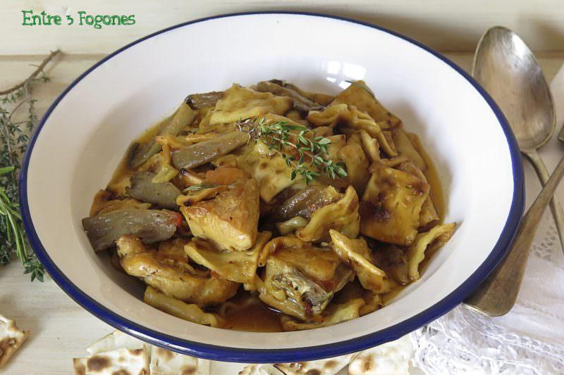 Receta Gazpachos Manchegos con Pollo y Setas