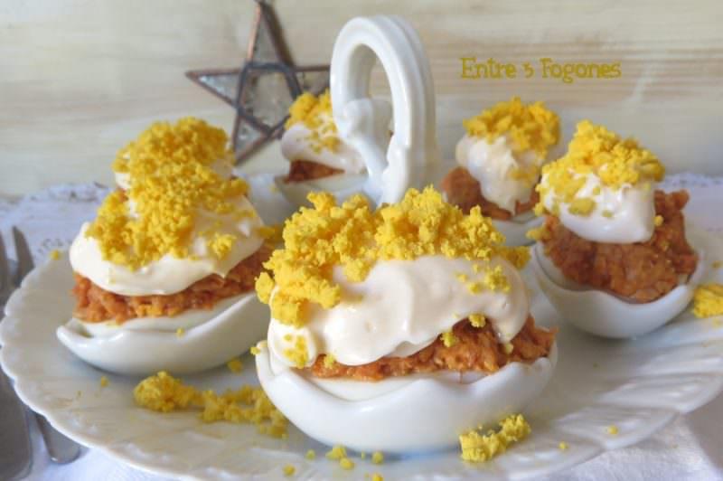 Receta Huevos al Serrín, Rellenos de Atún
