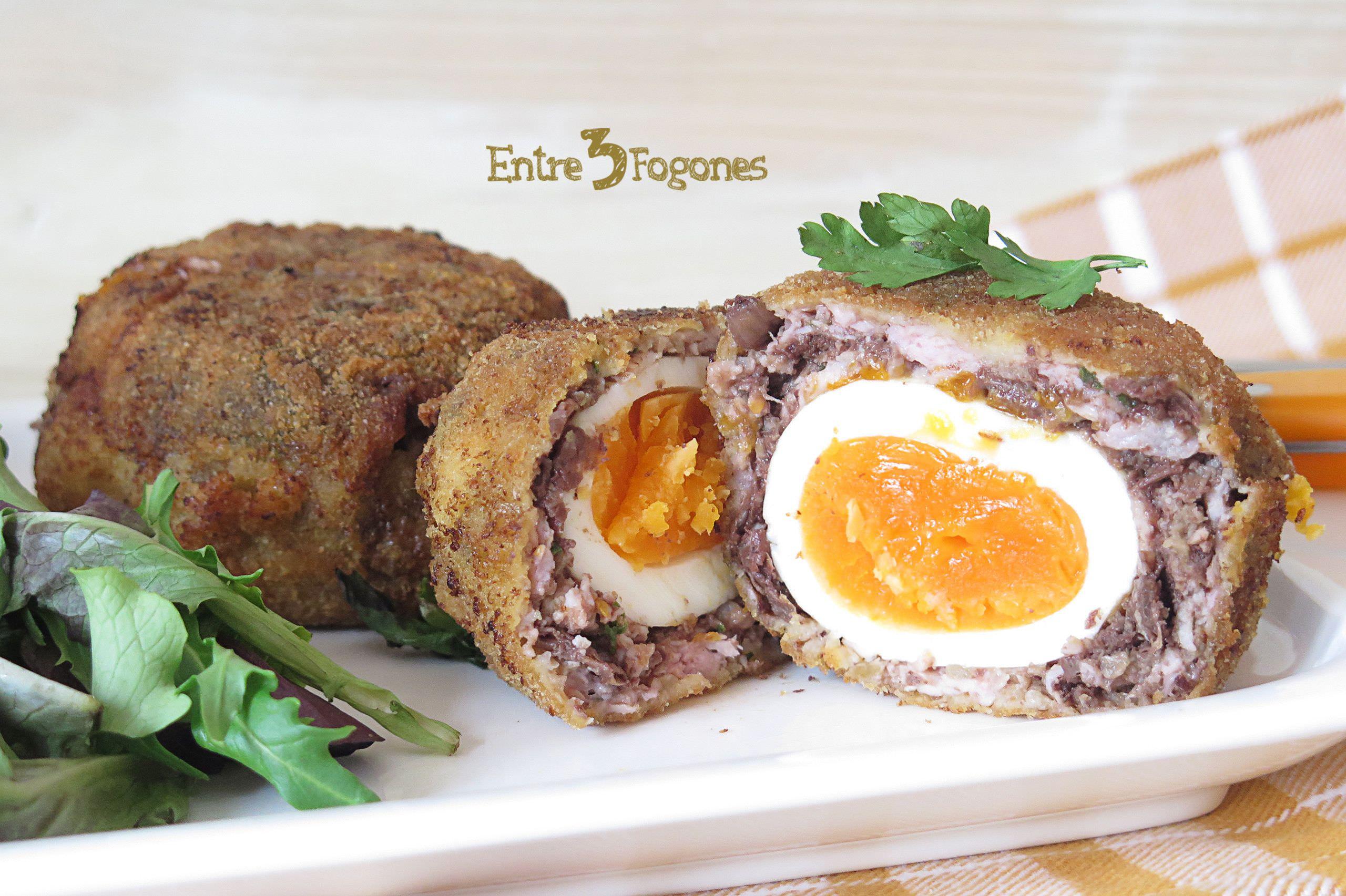 Receta Huevos Escoceses con Morcilla y Manzana