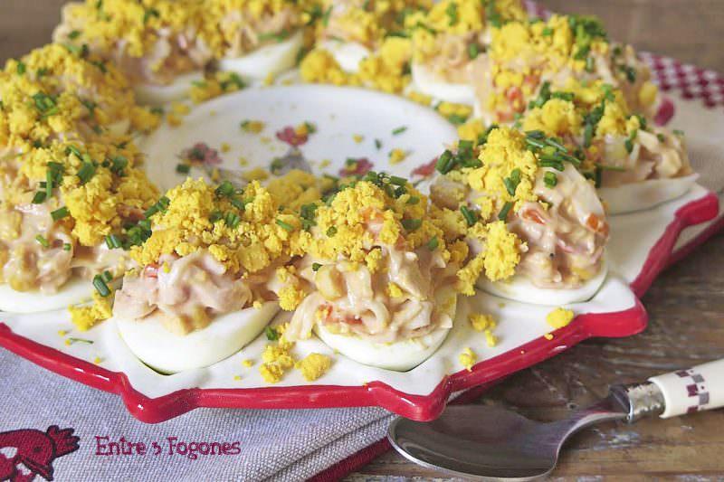 Receta Huevos Rellenos de Surimi y Atún con Salsa Rosa