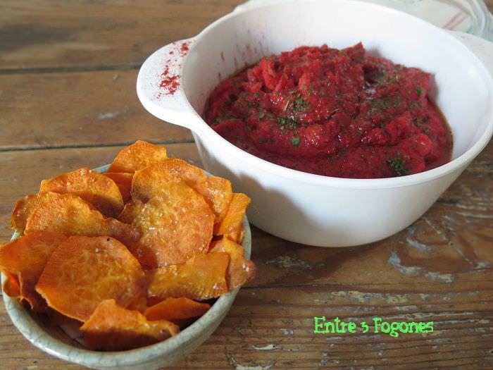 Receta Hummus de Boniato y remolacha con Chips de boniato