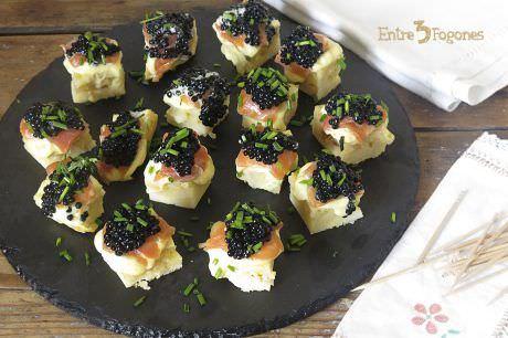 Receta Pincho de Tortilla de Patatas con Trucha Ahumada