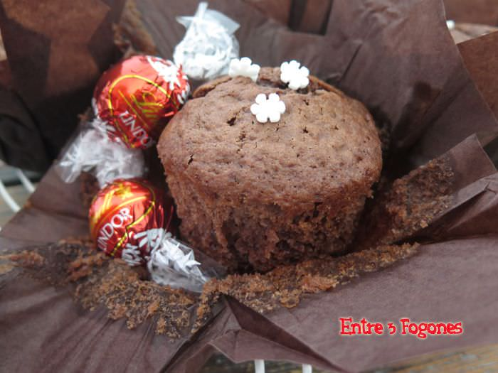 Receta Muffins de Chocolate Rellenos de Chocolate