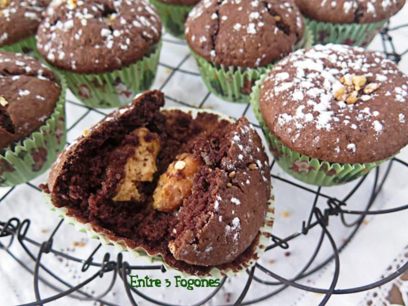 Muffins de Chocolate Rellenos de Turrón de Jijona
