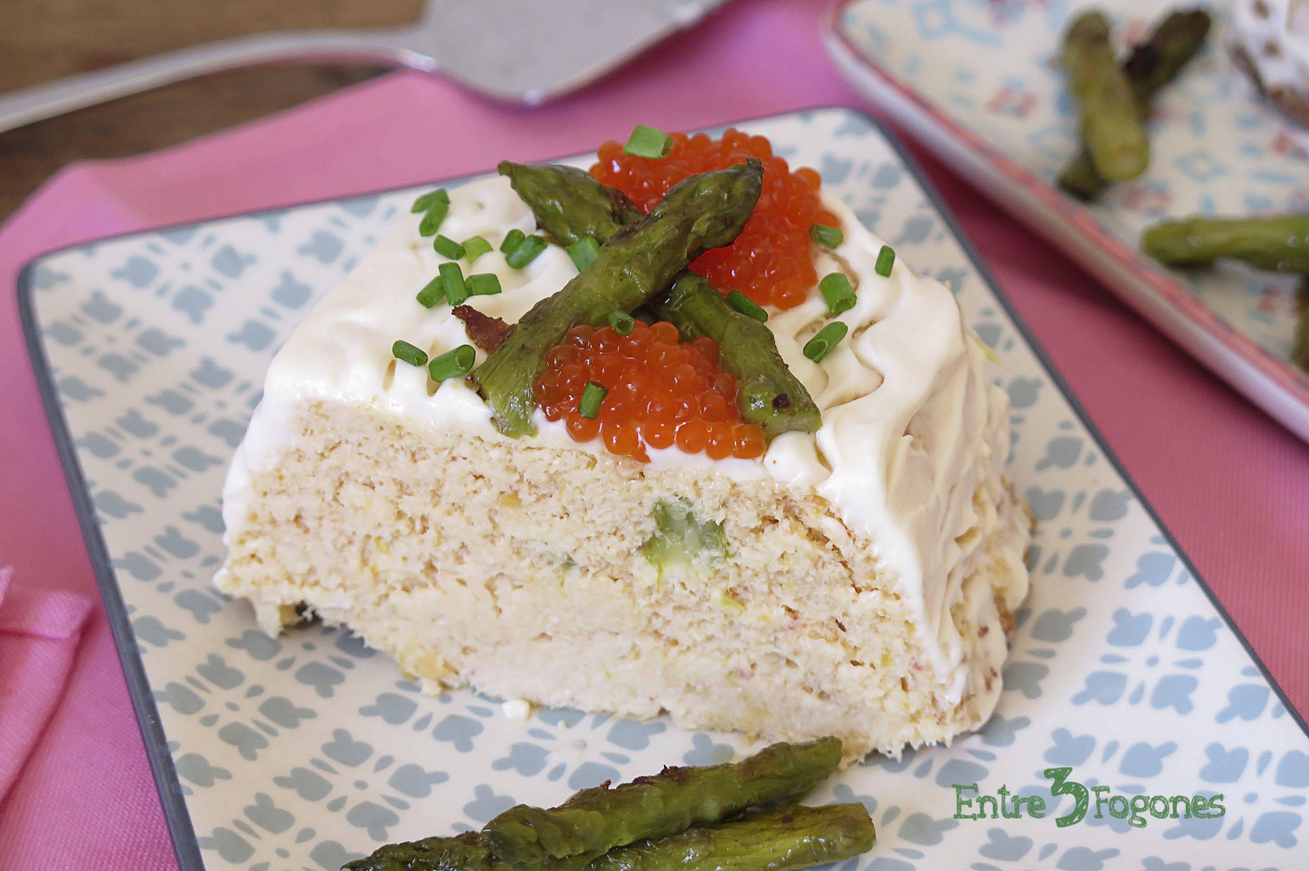 Receta Pastel de Gambas con Salmón y Espárragos Verdes