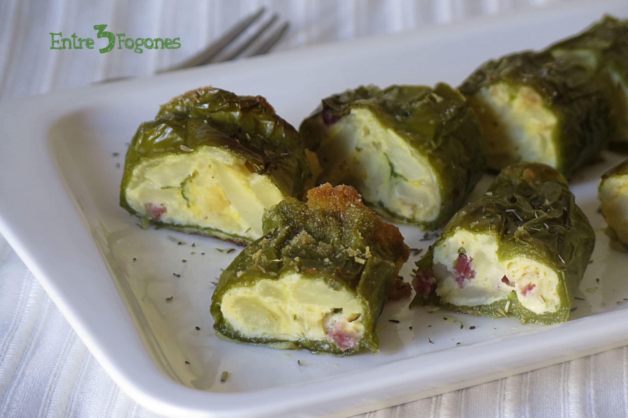 Receta Pimientos Verdes Rellenos de Tortilla de Patatas con Jamón Serrano