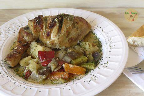 Receta Asado de Pollo al Horno con Verduras y Picada de Almendras