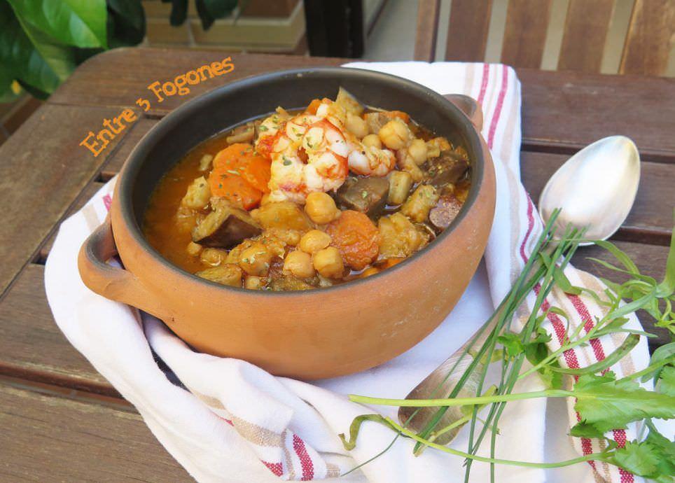 Receta Potaje de Garbanzos con Berenjena y Gambones