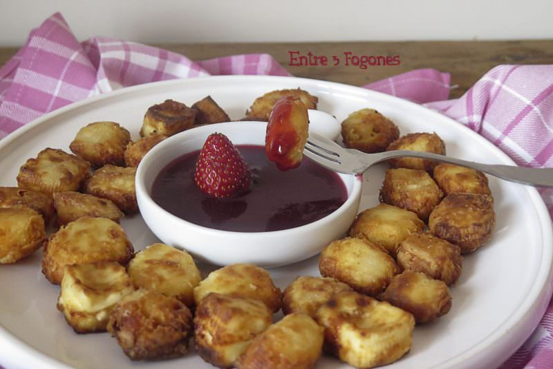 Receta Queso Frito con Mermelada de Fresas