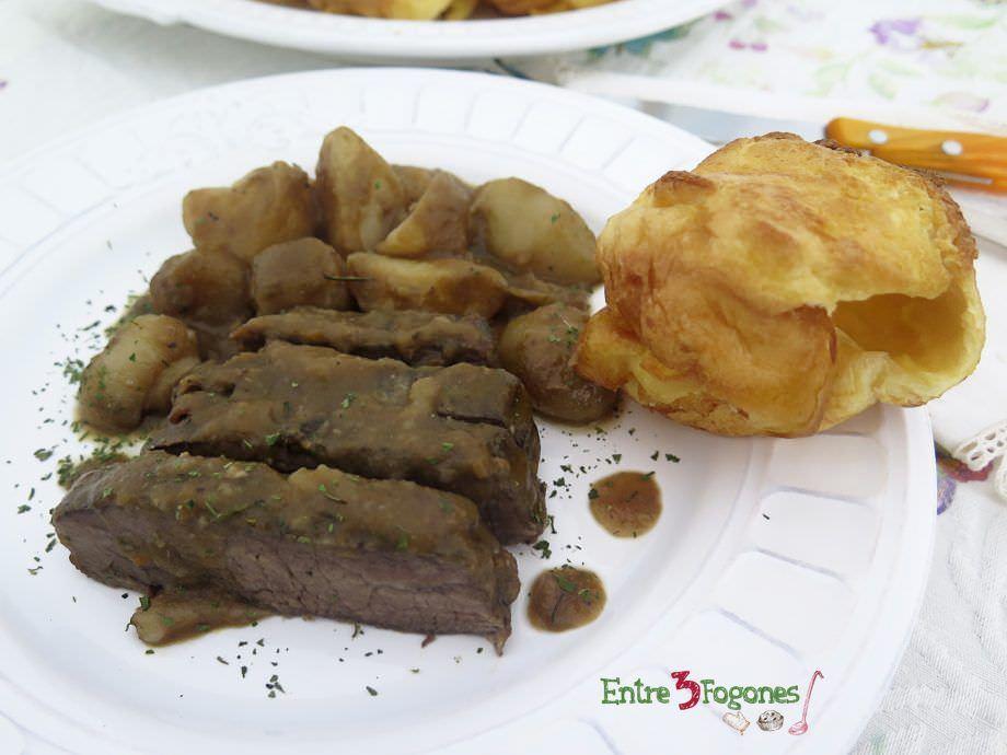 Receta Roast Beef con Yorkshire Puddings. Receta Británica