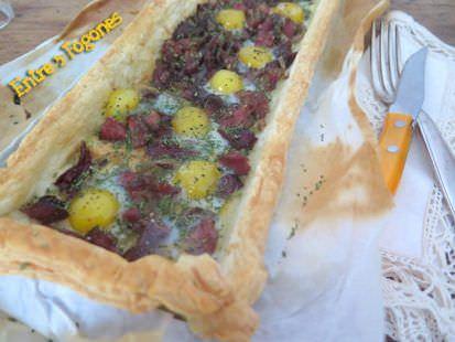 Receta Tarta de Hojaldre con Lacón y Huevos de Codorniz