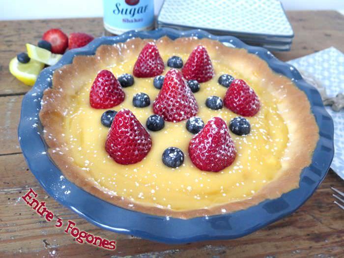 Receta Tarta de Crema de Limón con Fresas y Arándanos
