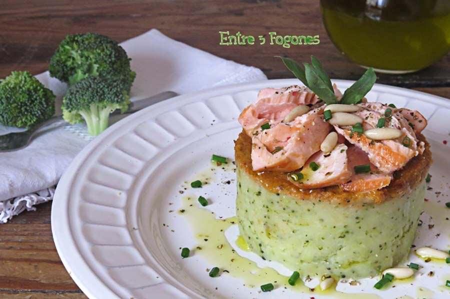 Receta Timbal de Patata y Brócoli con Salmón y Pesto de Tomate