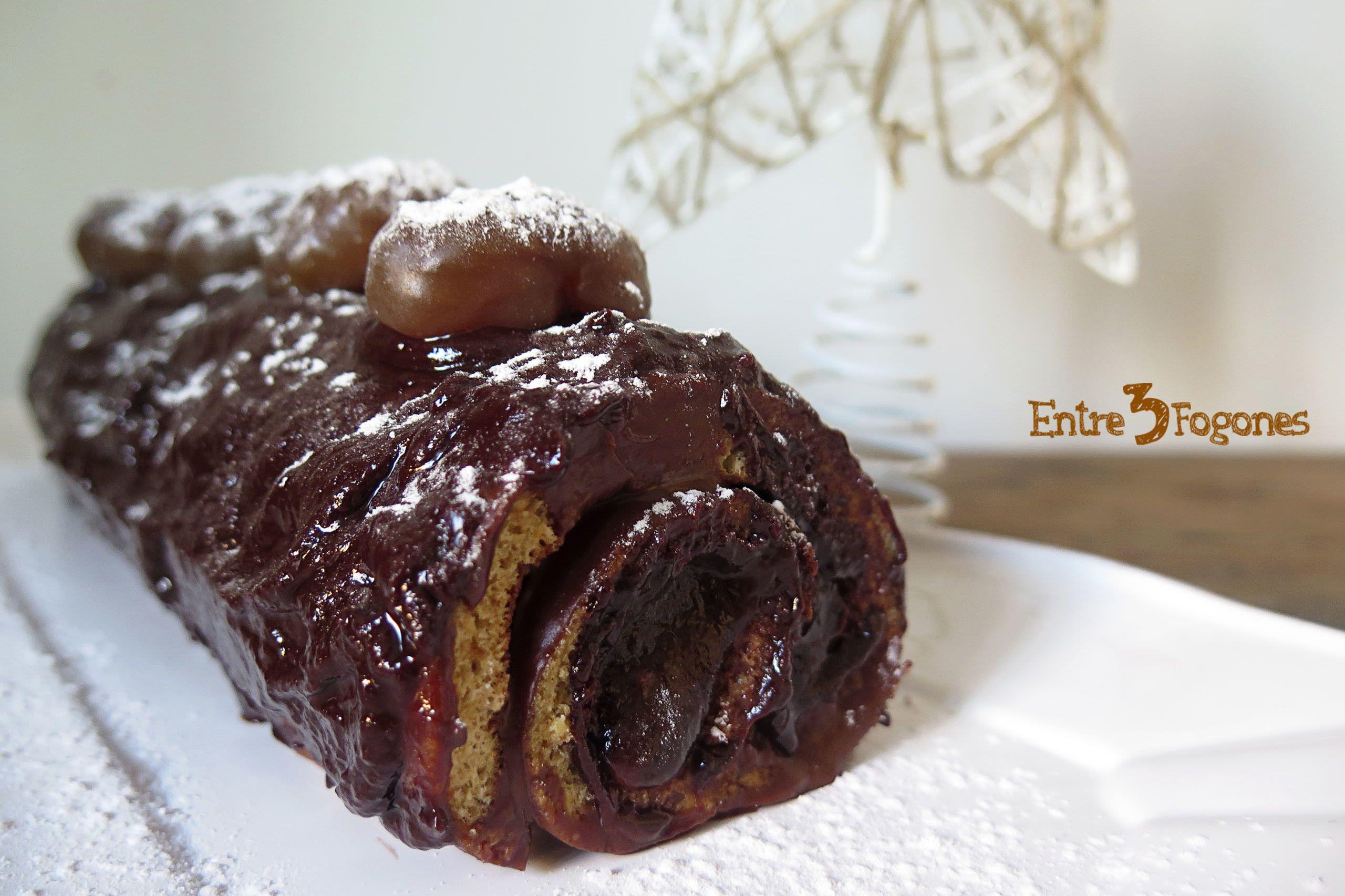 Receta Tronco de Navidad Relleno de Chocolate con Spéculoos y Marrón Glacé