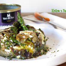 Revuelto de Huevo Mollet con Espárragos y Mollejas de Pato
