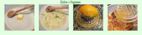 Pasos Vieiras y Gambones en Salsa de Mandarinas