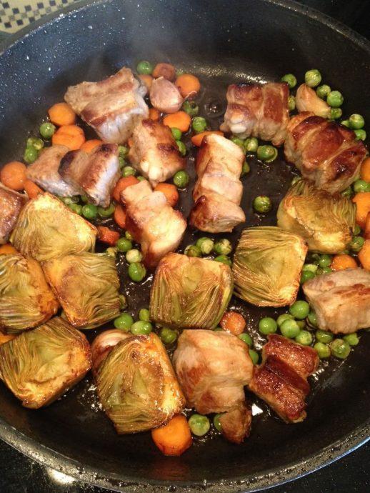 Arroz con verduras y carne