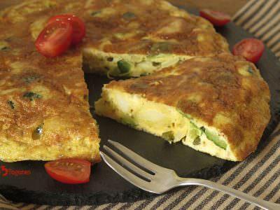Tortilla de Calabacín y Patatas con Ajos Tiernos