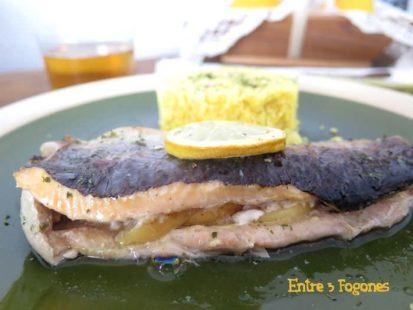 Receta Trucha al horno con manzana y mostaza